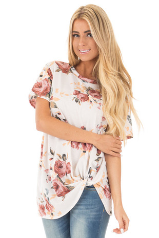 Ivory Floral Print Short Sleeve Top with Front Knot front close up