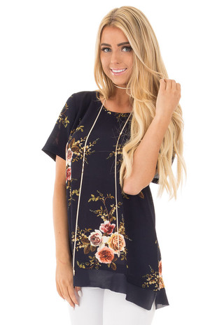 Navy Floral Short Sleeve Top with Chiffon Back Detail front close up