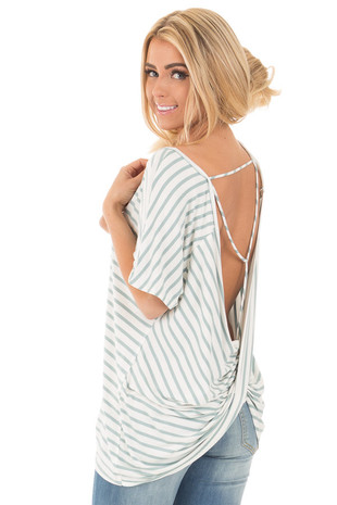 Dusty Mint and Ivory Striped Comfy Bamboo Open Back Tee back side close up