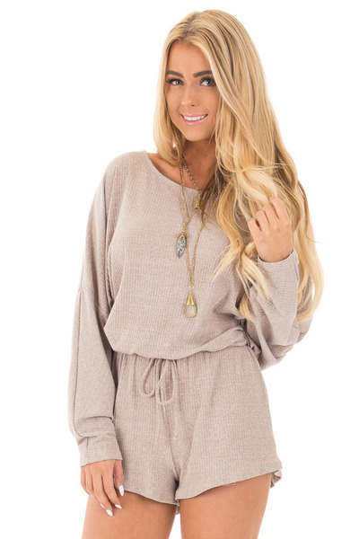Beige Long Dolman Sleeve Romper with Waist Tie front close up