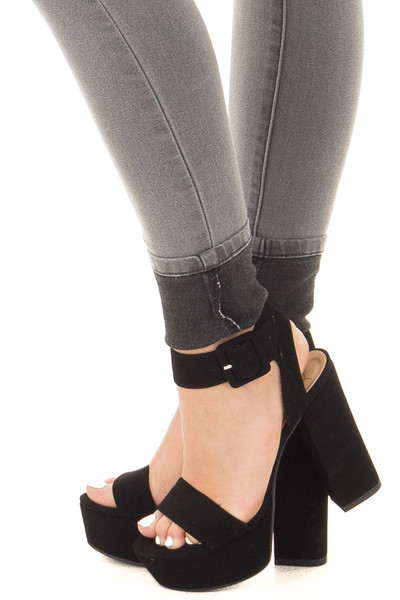 Midnight Black Velour Open Toed Chunky Heel side