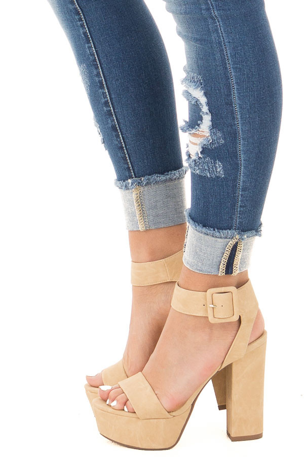 Beige Faux Leather Open Toed Chunky Heel side