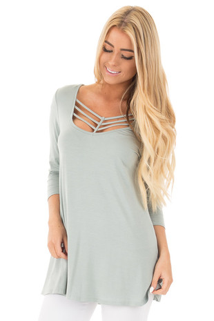 Blue Sage 3/4 Length Sleeves with Caged Neckline Detail Top front close up