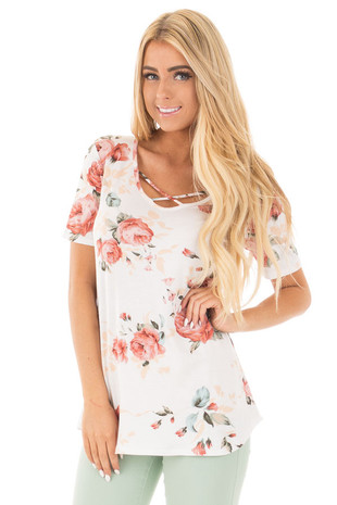 Ivory Floral Short Sleeve Tee with Criss Cross Neckline front close up