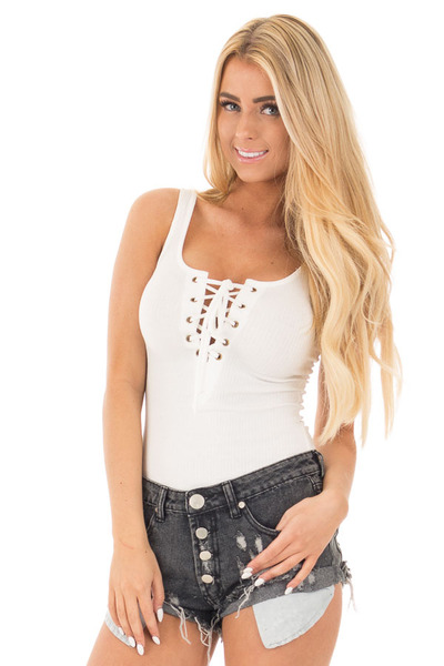 Ivory Ribbed Knit Bodysuit with Lace Up Neckline front close up