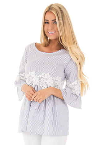 Off White and Blue Striped 3/4 Sleeve with Crochet Detail front close up