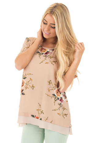 Taupe Floral Short Sleeve Top with Chiffon Back Detail front close up
