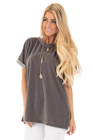 Charcoal Velvet Comfy Oversized Short Sleeve Tee front close up