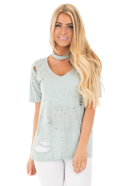 Blue Sage Distressed Short Sleeve Top with Deep Keyhole V Neck front close up