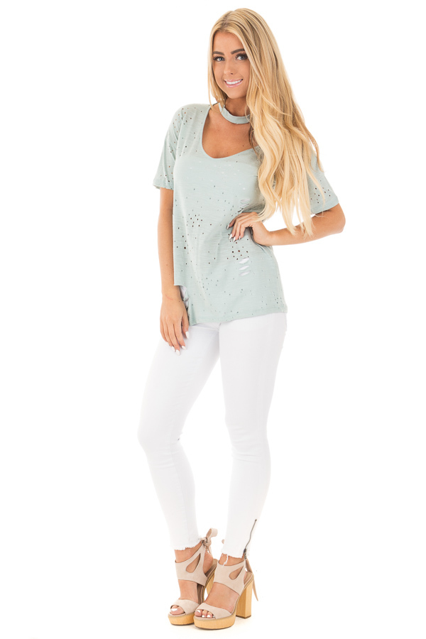 Blue Sage Distressed Short Sleeve Top with Deep Keyhole V Neck front full body