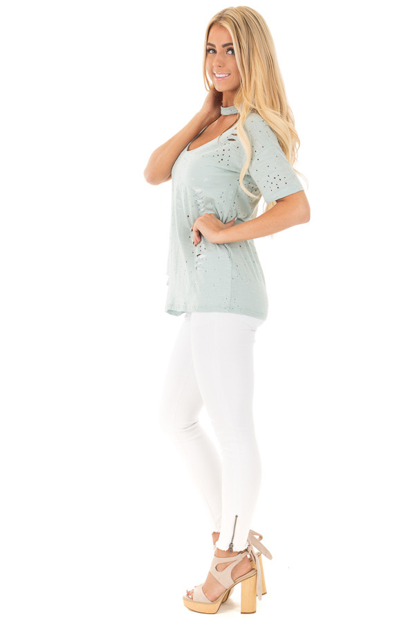 Blue Sage Distressed Short Sleeve Top with Deep Keyhole V Neck side full body