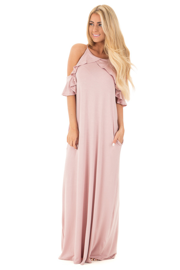 Mauve Cold Shoulder and Ruffle Detail Maxi Dress with Pockets front full body