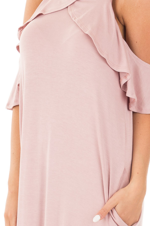 Mauve Cold Shoulder and Ruffle Detail Maxi Dress with Pockets detail