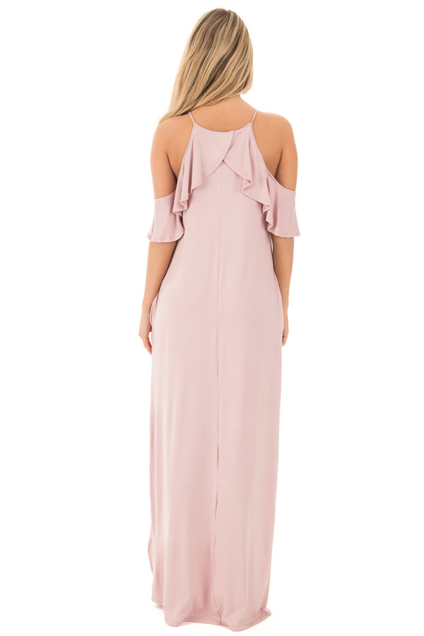 Mauve Cold Shoulder and Ruffle Detail Maxi Dress with Pockets back full body