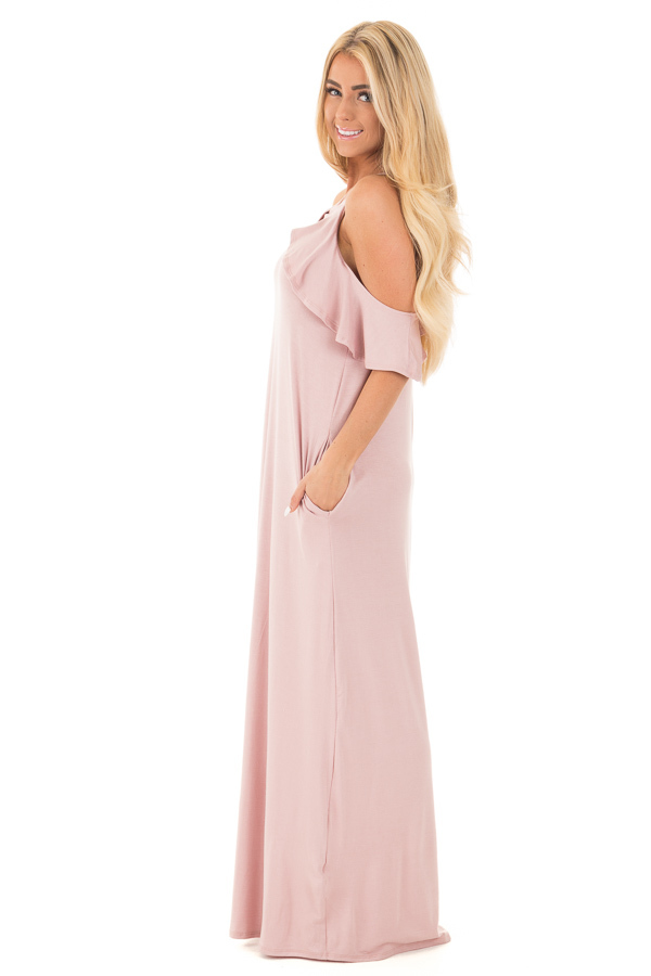 Mauve Cold Shoulder and Ruffle Detail Maxi Dress with Pockets side full body