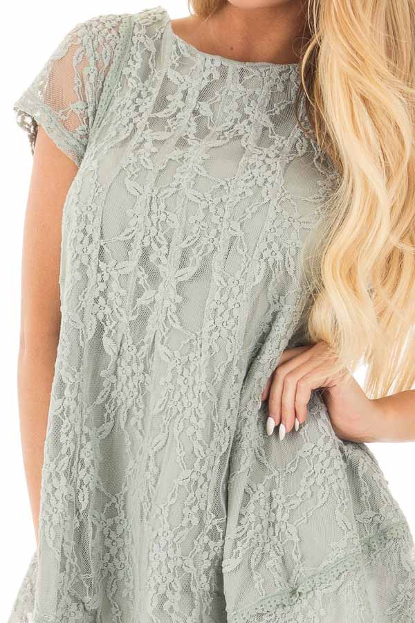 Dusty Sage Detailed Lace Swing Short Sleeve Tunic detail