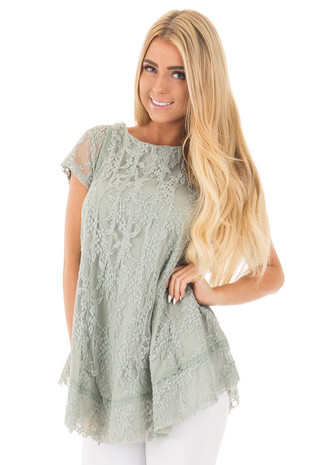 Dusty Sage Detailed Lace Swing Short Sleeve Tunic front close up
