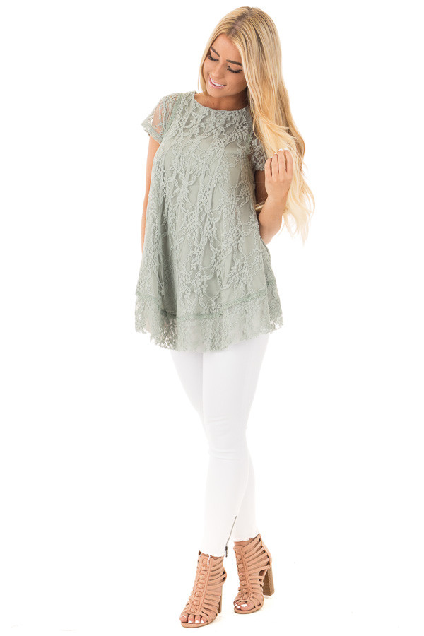 Dusty Sage Detailed Lace Swing Short Sleeve Tunic front full body