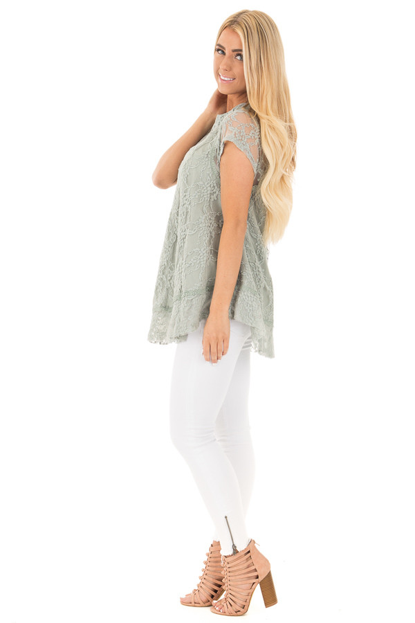 Dusty Sage Detailed Lace Swing Short Sleeve Tunic side full body