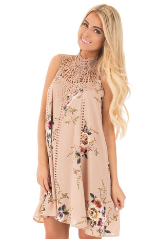 Taupe Floral Sleeveless Dress with Crochet Yoke Detail front close up