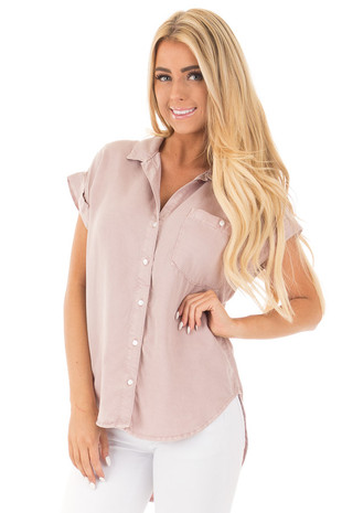 Dusty Blush Button Up Top with Breast Pocket Detail front close up