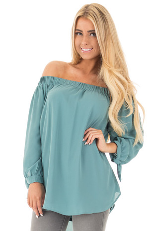 Dark Sage Off Shoulder Chiffon Blouse with Tie Sleeve Detail front close up