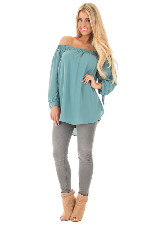 Dark Sage Off Shoulder Chiffon Blouse with Tie Sleeve Detail front full body