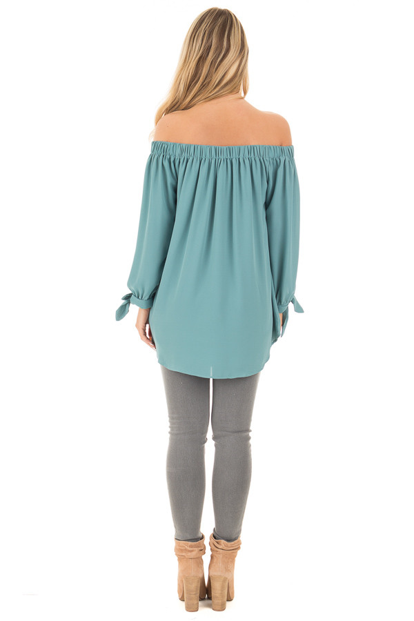 Dark Sage Off Shoulder Chiffon Blouse with Tie Sleeve Detail back full body
