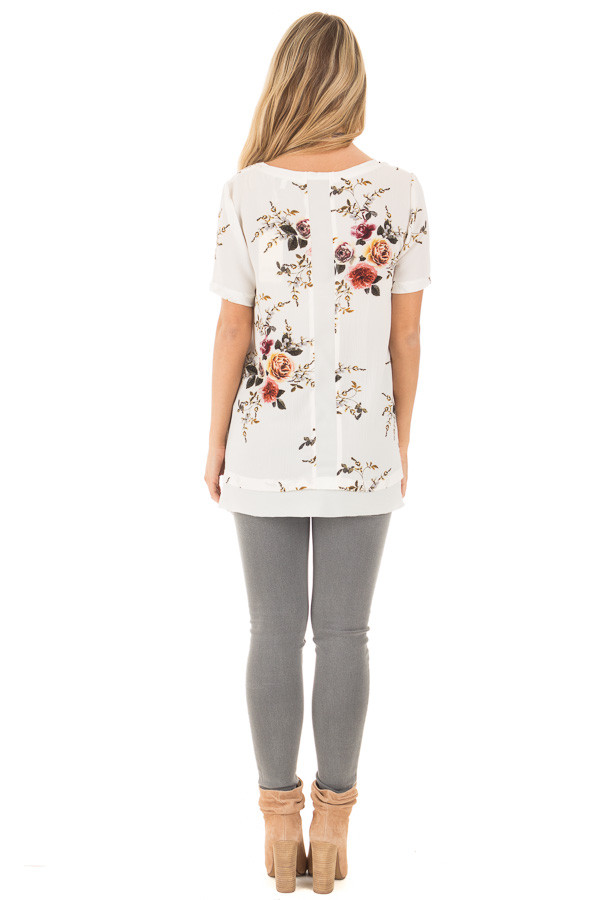 Off White Floral Short Sleeve Top with Chiffon Back Detail back full body