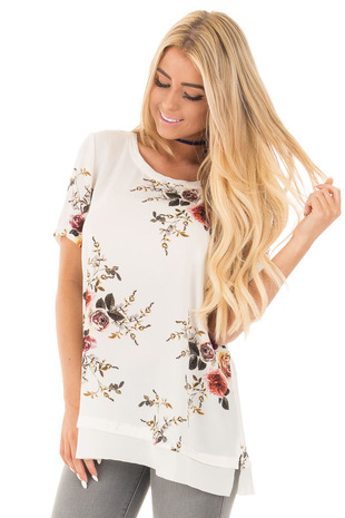 Off White Floral Short Sleeve Top with Chiffon Back Detail front close up