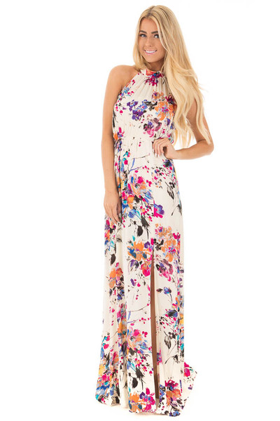 Natural Floral Halter Maxi Dress with Tie Back Detail front full body
