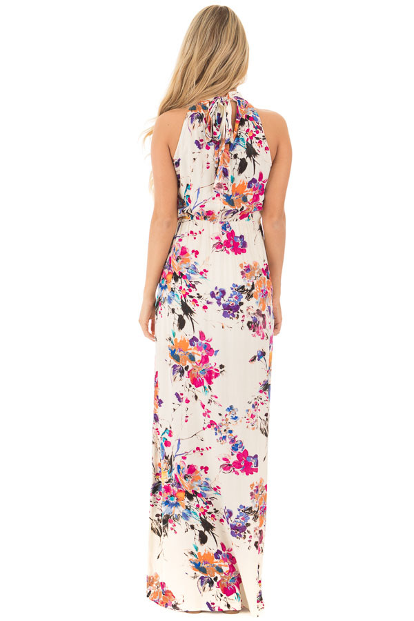 Natural Floral Halter Maxi Dress with Tie Back Detail back full body