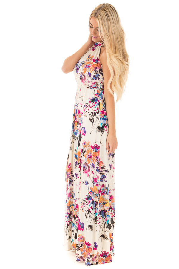 Natural Floral Halter Maxi Dress with Tie Back Detail side full body