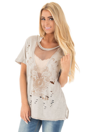 Heather Grey Distressed Graphic Tee with Sheer Deep V Neck front close up