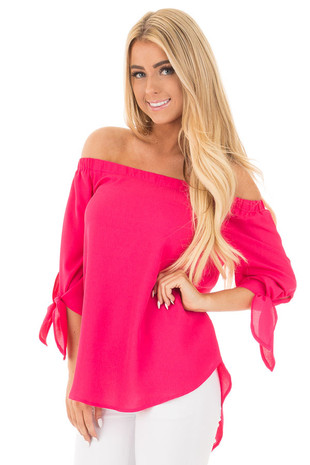 Fuchsia Off Shoulder Hi Low Blouse with Sleeve Tie Detail front close up