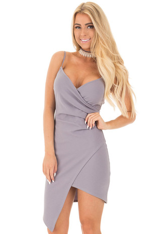Slate Grey Sleeveless Cross Over Front Slit Dress front close up