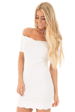 Ivory Scalloped Off Shoulder Dress front close up