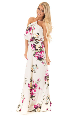 Ivory Floral Print Halter Maxi Dress with Cut Out Detail front full body