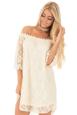 Cream Off the Shoulder 3/4 Sleeve Floral Lace Dress front close up