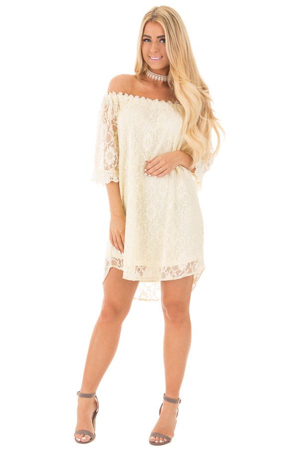 Cream Off the Shoulder 3/4 Sleeve Floral Lace Dress front full body