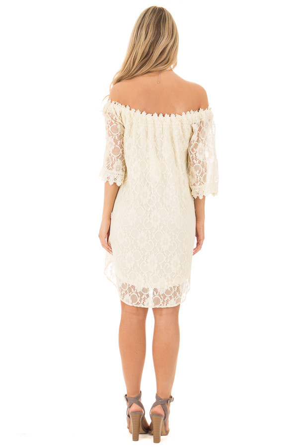 Cream Off the Shoulder 3/4 Sleeve Floral Lace Dress back full body