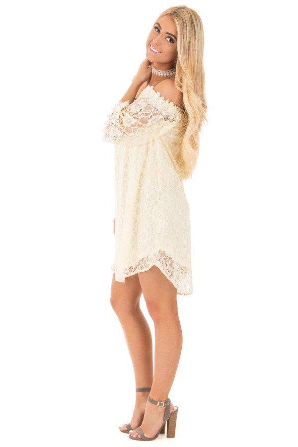 Cream Off the Shoulder 3/4 Sleeve Floral Lace Dress side full body