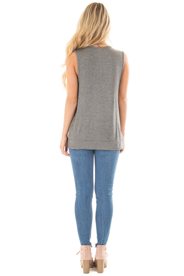 Charcoal Muscle Tank with Draped Surplice Hem Detail back full body