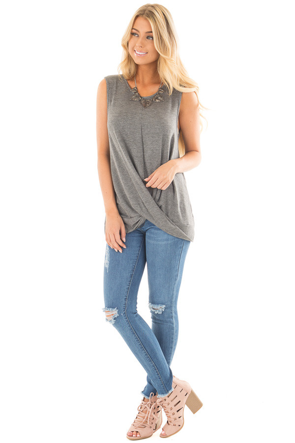 Charcoal Muscle Tank with Draped Surplice Hem Detail front full body