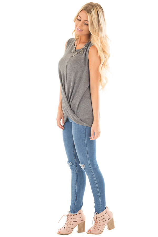 Charcoal Muscle Tank with Draped Surplice Hem Detail side full body