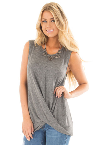 Charcoal Muscle Tank with Draped Surplice Hem Detail front close up