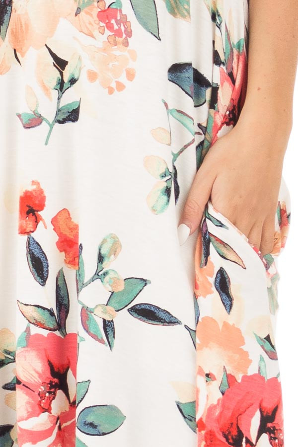 Ivory Watercolor Floral Print Swing Dress with Side Pockets detail