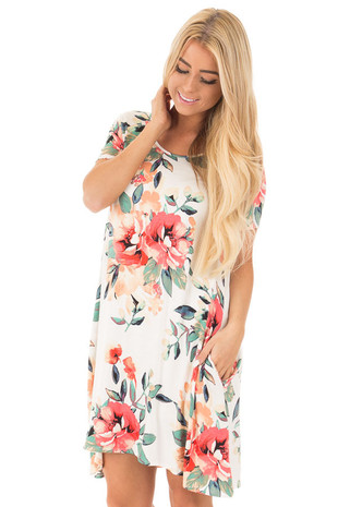 Ivory Watercolor Floral Print Swing Dress with Side Pockets front close up