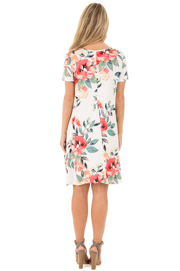 Ivory Watercolor Floral Print Swing Dress with Side Pockets back full body