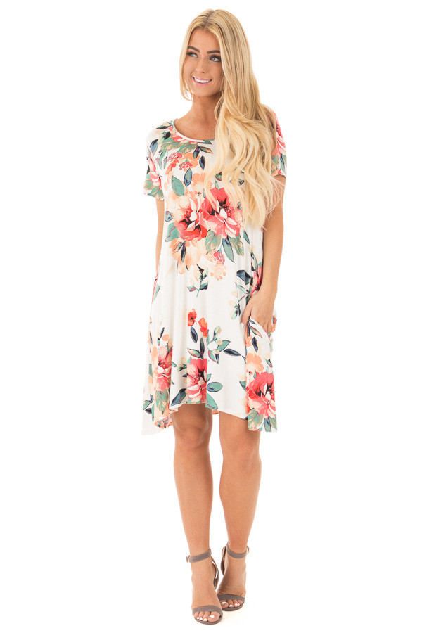 Ivory Watercolor Floral Print Swing Dress with Side Pockets front full body